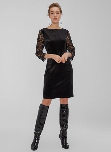 People By Fabrika Dantel Detaylı Kadife Elbise Siyah